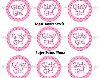 INSTANT DOWNLOAD Girly Girl Pink Polka dot 1 inch Circle Bottlecap Images 4x6 sheet