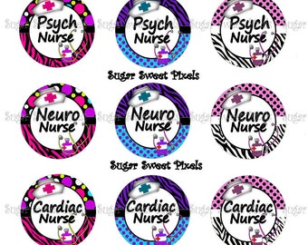 INSTANT DOWNLOAD Cute Speciality Nurse Sheet 3  Neuro, Psych, Cardiac, Hospice, Medicine 1 inch Circle Bottlecap Images 4x6 sheet