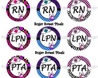 Instant Download Cute Speciality Nurse Sheet 8 RN, LPN, PTA, cna, huc 1 inch Circle Bottlecap Images 4x6 sheet