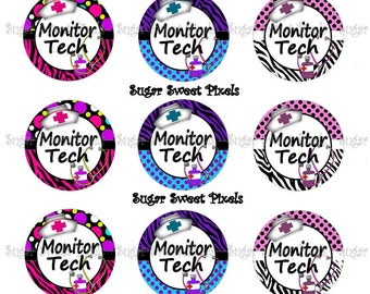 INSTANT DOWNLOAD Cute Monitor Tech medical   1 inch Circle Bottlecap Images 4x6 sheet