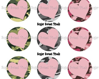 INSTANT DOWNLOAD Blank Camo  Heart Green , Pink, & Gray  1 inch Circle Bottlecap Images 4x6 sheet