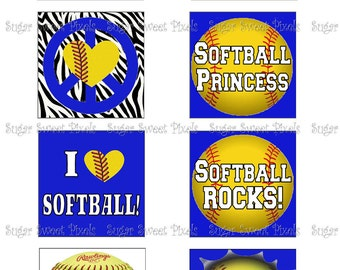 INSTANT DOWNLOAD Softball Themed 35mm Square  1 3/8 inch Digital  Images  4x6 sheets