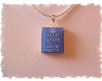 SALE Keep Calm & Love BirdsTile Pendant Necklace
