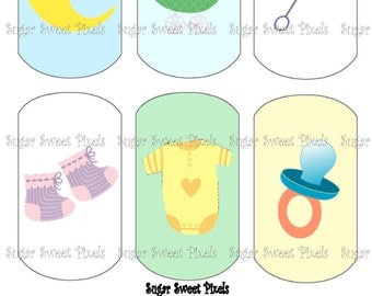 INSTANT DOWNLOAD Baby Shower Themed Digital Dog Tag Images 4x6 sheet