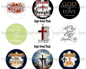 INSTANT DOWNLOAD Christian Scripture 1 inch Circle Bottlecap Images 4x6 sheet