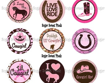 INSTANT DOWNLOAD Lil Cowgirl  1 inch Circle Bottlecap Images
