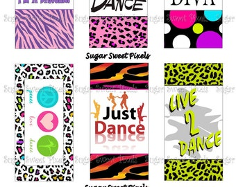 INSTANT DOWNLOAD Dance Themed  Digital Rectangle Domino Size Images 4x6 sheet