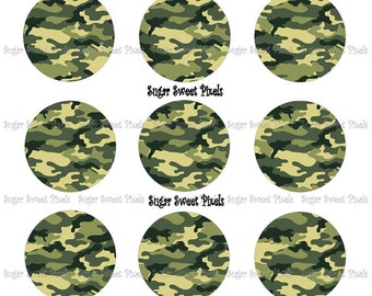 INSTANT DOWNLOAD Blank Green Camo  1 inch Circle Bottlecap Images 4x6 sheet