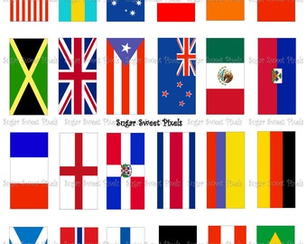 INSTANT DOWNLOAD Country Flags  Digital Rectangle Domino Size Images 8x11 sheet