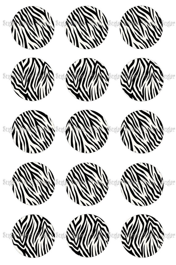 INSTANT DOWNLOAD Black White Blank Zebra print  1 inch Circle Bottlecap Images 4x6 sheets