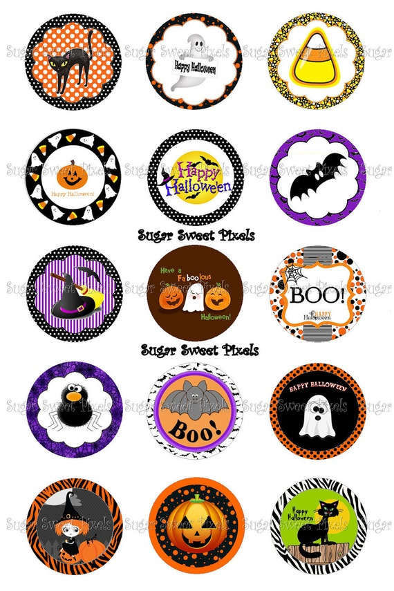 INSTANT DOWNLOAD Halloween  1 inch Circle Bottlecap Images 4x6 sheet