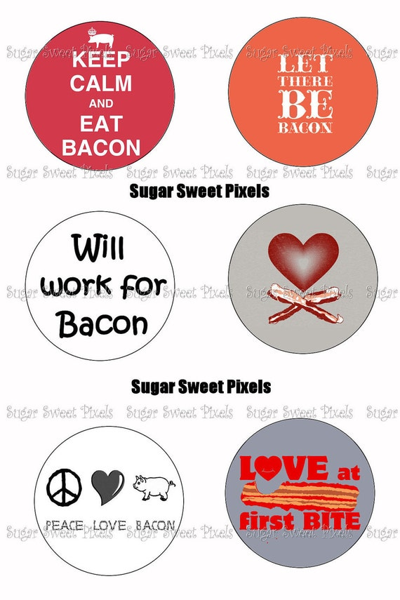 INSTANT DOWNLOAD Bacon 1.5 inch Circle Images 3 4x6 sheets