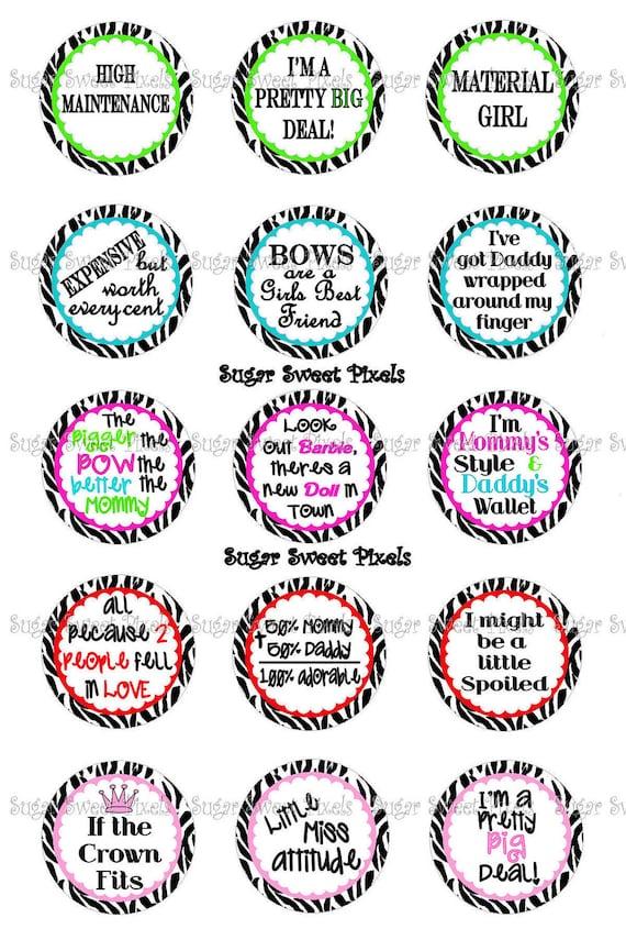 INSTANT DOWNLOAD Cute Zebra Sayings Sheet 2 1inch Circle Bottlecap Images 4x6 sheet