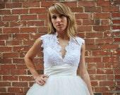 Tea Length Wedding Dress with Tulle Skirt - Blakely