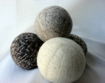Wool Dryer Balls:  Set of 4