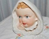 Vintage Baby girl in blanket Head Vase White Gold Trim home decor doll face headvase