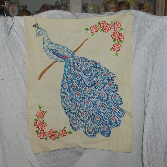 Vintage Embroidery Gorgeous Blue Peacock hand sewn embroidered picture