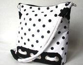Black Polka Dot  Messenger Bag Cotton fabric and Cotton Strap