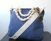 Sailor  Navy Blue Messenger  bag and Hand Bag  Adjustable Cotton strap zipper closure For Women For New Mom beach Bag