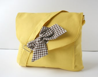 Yellow Messenger  Bag  Brown and White Checked  Bow Adjustable strap