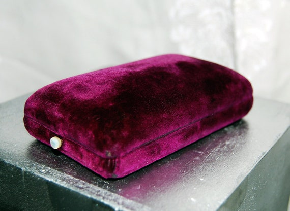 Fabulous Purple Velvet Jewelry Box Mother of Pearl Button