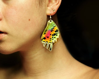 REAL Moth wing earrings - Sunset Moth - Butterfly, Moth, Bug, Insect, Taxidermy Jewelry