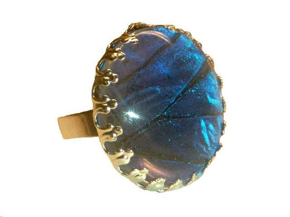 "Real Butterfly Ring Pendant 1"" - Blue Morpho"