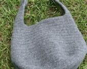 Felted Wool Crochet Handbag Grey Purse with Horse Bit