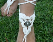 FREE SHIPPING - Lace Sandals - Gypsy Shoes- Crocheted Barefoot Sandals - Beach Sandals - Wedding- Feet Decor - Vintage - Celtic