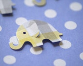 50 Yellow and Gray  Plaid MODERN ELEPHANT DECOR  Baby Shower Confetti, Birthday party ,scrapbooking, cards 50 cs