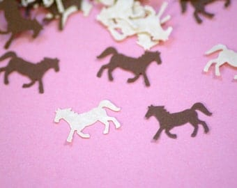 50 Hand Punched  Horse Die cuts tan and brown for Confetti, Birthday party decorations,Invitations,scrapbooking,