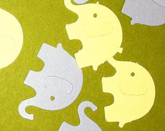 50 Yellow and Grey  MODERN ELEPHANT DECOR  Die Cuts Hand Punched  Baby Shower Confetti, Birthday party ,scrapbooking, cards