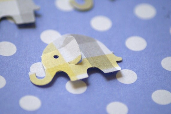 Yellow and Gray  Plaid MODERN ELEPHANT DECOR  Baby Shower Confetti, Birthday party ,scrapbooking, cards 50 cs