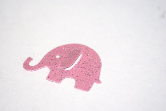 50 Pink  with sparkles MODERN ELEPHANT DECOR  Baby Shower Confetti, Birthday party decorations,Invitations,scrapbooking, cards