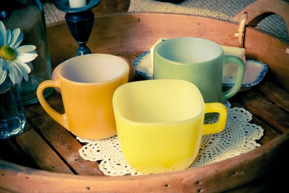 3 Vintage Painted Milk Glass Mugs