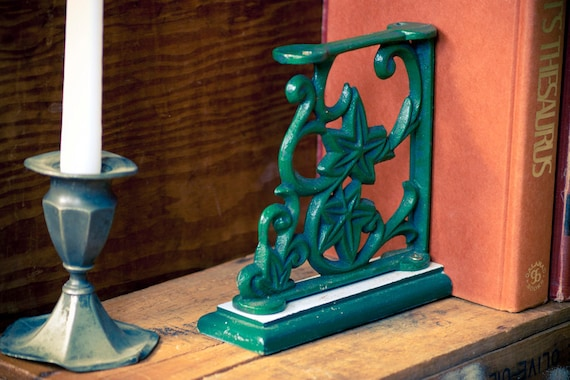 Vintage Green Metal Bookends