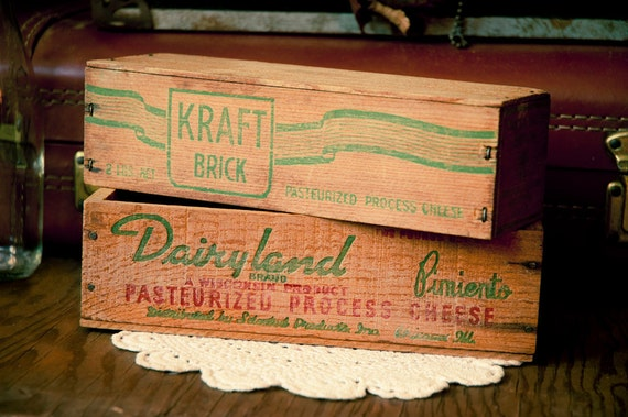 2 Vintage Wooden Cheese Boxes