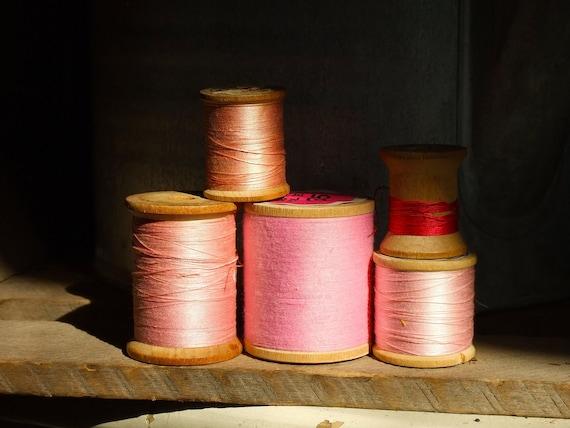Pinks - Vintage Wooden Spools