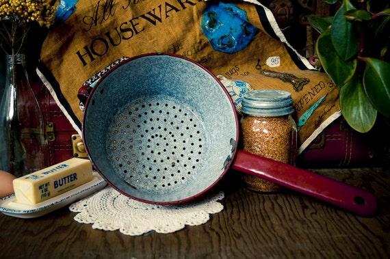 Vintage Maroon Enamel Colander Pot