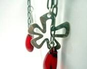 Red rusty casual flower earrings