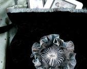 Black Velvet Shabby Boho Poppy Bag Messenger