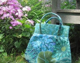 Blue and Green Graphic Floral Bag