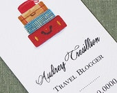 Travel Business Card with Suitcase Stack - Set of 50