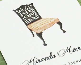 PERSONALIZED BUSINESS CARDS with Chippendale Chair  - Set of 50