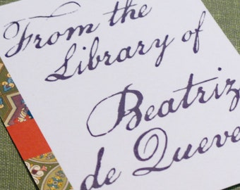 CUSTOM BOOKPLATES with Elegant Script and Tapestry - set of 24