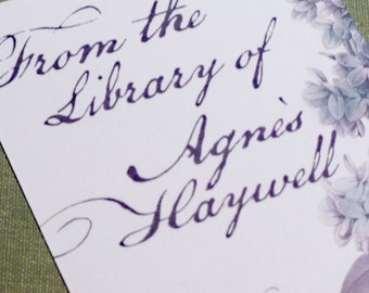 Custom Bookplates with Lilac and Script Motif - set of 24