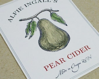 Personalized Canning Labels wIth Pear Motif, Set of 18