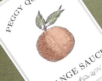 Orange Labels, Orange Tags,Orange Marmalade Labels, Set of 18