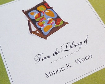 Personalized Bookplate Modern Art Motif - set of 24