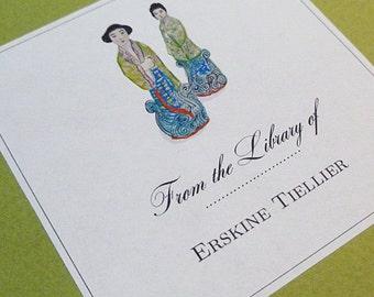 Custom Bookplates - Chinoiserie Figurines, Set of 24